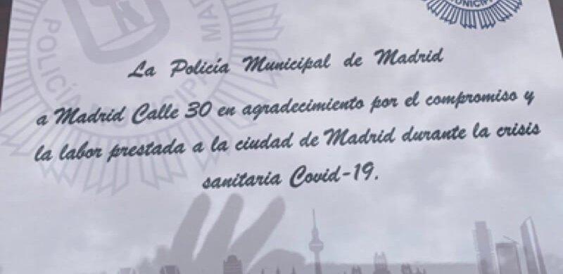 Reconocimiento de la Policía Municipal de Madrid a Calle M-30 y Emesa