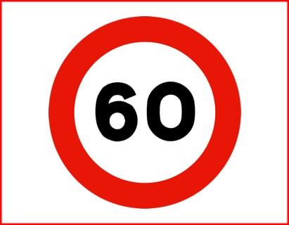Señal R-301: visibilidad limitada, no circular por encima de los 60 km/h