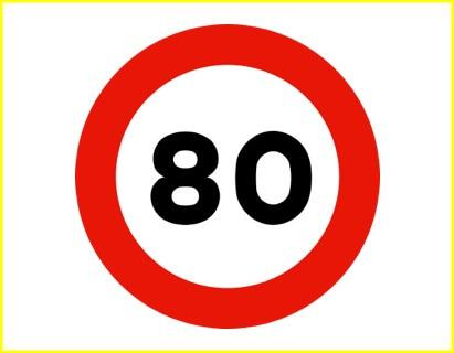 Señal R-301: visibilidad moderada, no superar los 80 km/h